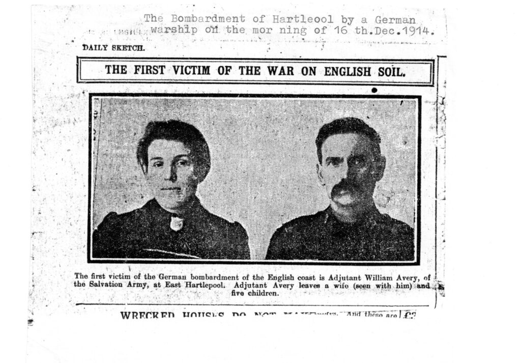 Newspaper scan from 'The Daily Sketch' showing James Avery and his wife. Photograph is captioned 'The First Victim of the War on English Soil'
